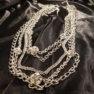 Silver chains  with sparkling rhinestone  balls